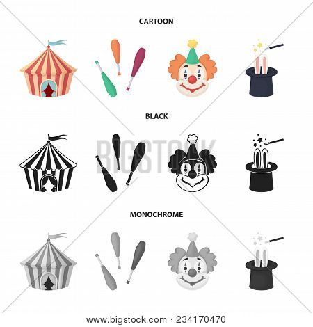 Circus Tent, Juggler Maces, Clown, Magician Hat.circus Set Collection Icons In Cartoon, Black, Monoc