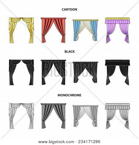 Different Types Of Window Curtains.curtains Set Collection Icons In Cartoon, Black, Monochrome Style