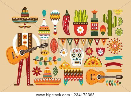 Mexican Folk Set In Flat Style. Vector Illustration