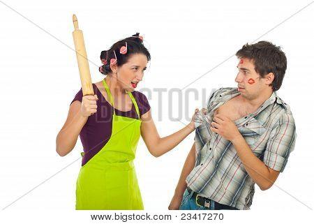 Furious Housewife With Unfaithful Husband