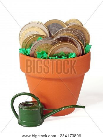 Coins Potted In Clay Pot Isolated Over White Background
