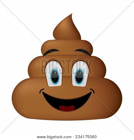 Shit Icon, Smiling Face, Poop Emoticon Isolated On White Background.