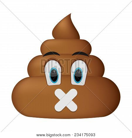 Shit Icon, Shut Up Face, Poop Emoticon Isolated On White Background.