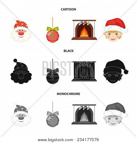 Santa Claus, Dwarf, Fireplace And Decoration Cartoon, Black, Monochrome Icons In Set Collection For
