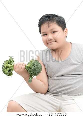 Obese Fat Boy Holding A Broccoli Dumbbell Isolated