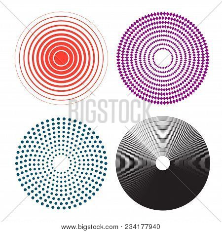 Concentric Circles, Radial Lines Pattern. Pain Circle. On White Background. Vector Illustration