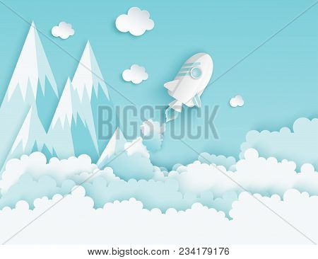 Paper Art Of Space Shuttle Launch To The Sky. Blue Sky, Paper Clouds, Mountains. Rocket Launch. Star