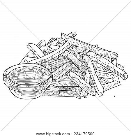 French Fries Sketch, Hand Drawn Fast Food Vector Illustration. French Fries In The Package And In Bu