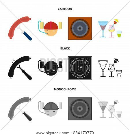 Fried Sausage, Beer Helmet, Cocktails, Speaker.pub Set Collection Icons In Cartoon, Black, Monochrom