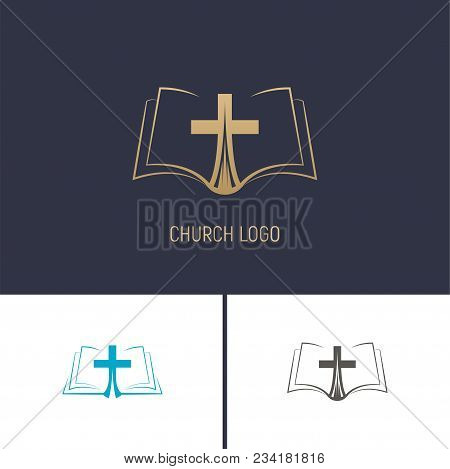 Logo Of The Church. Christian Symbols. A Book With A Cross. Vector Illustration