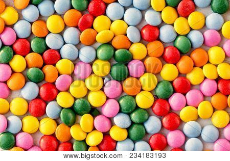Colorful  Candy Pattern Background. Different Small Colored Candies Texture. Top View.