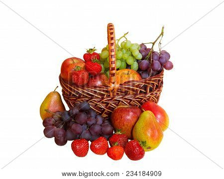 Fresh Fruits In Basket Isolated On White Background