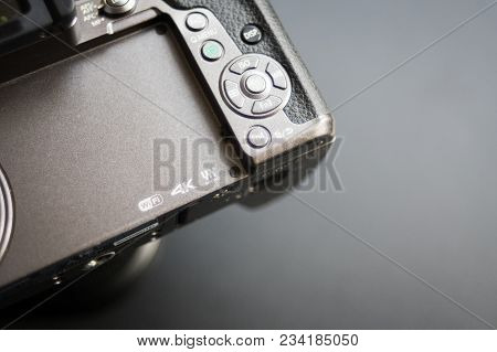 Bishkek, Kyrgyzstan - February 17, 2018: Close Up Logo Microfourthirds, 4k Wifi On The Camera. Black