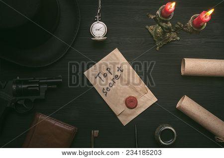 Top Secret Document Information. Privacy. Forbidden Material. Key To Unraveling. Secret Clue Concept