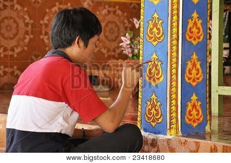 Man Color Art Ancient Asian Paint