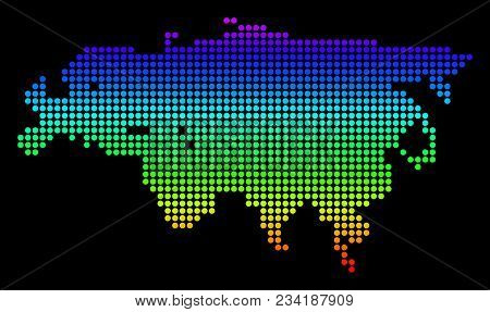 Spectrum Dotted Pixel Europe And Asia Map. Vector Geographic Map In Bright Colors On A Black Backgro
