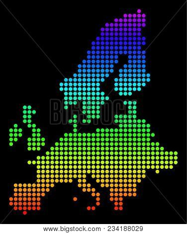 Spectrum Dotted Pixelated European Union Map. Vector Geographic Map In Bright Colors On A Black Back