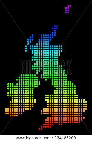 Spectrum Dotted Pixelated Great Britain And Ireland Map. Vector Geographic Map In Bright Colors On A