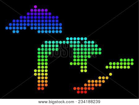 Spectrum Dotted Pixelated Great Lakes Map. Vector Geographic Map In Bright Colors On A Black Backgro