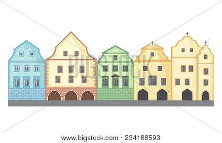 European Style Classic Buildings In Flat Style Isolated On White Background. Baroque Style Hotel Bui
