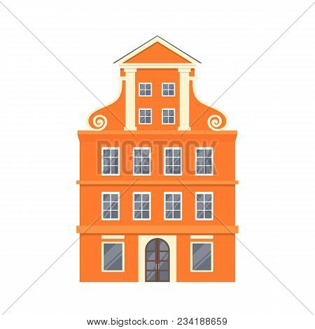 Orange European Style Classic Building Facade In Flat Style Isolated On White Background. Baroque St