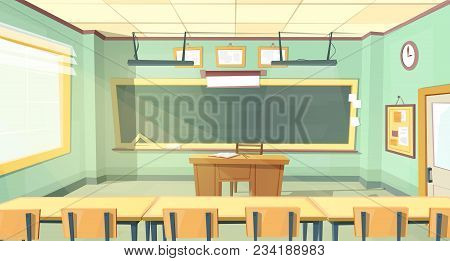 Vector Cartoon Background With Empty Classroom, Interior Inside. Back To College Concept Illustratio