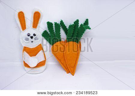 Three Handmade Felt Carrots With White Rabbit