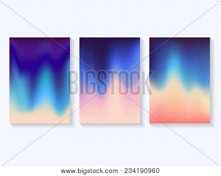 Bright Gradient Background Three Trendy Templates With Ink Gradient Background Vector Illustration F