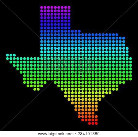 Spectrum Dotted Pixel Texas Map. Vector Geographic Map In Bright Colors On A Black Background. Color