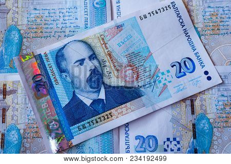 Bulgarian Currency Bgn Banknote, 20 Leva, Macro. Depicts A Portraiture Of Stefan Stambolov, Politici