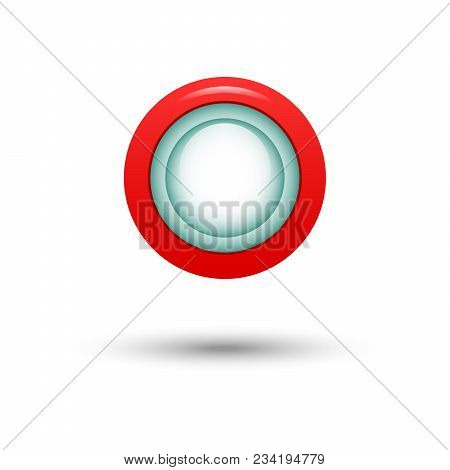 The Red Button For Website. Vector Illustration