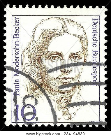 Germany - Circa 1988: Stamp Printed By Germany, Edition On Women In German History, Shows Painter Pa
