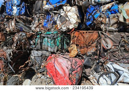 Scrap Metal, Wrecked And Crushed Parts, Background