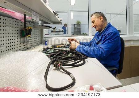 Zelenograd, Russia - October 19, 2017: Electric Solder Wires To The Electrical Connector