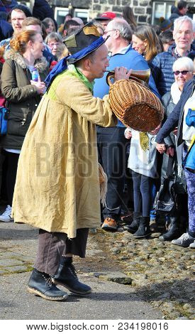 Heptonstall, Uk - March 20 2018: The Character Tosspot In The Traditional Good Friday Pace Egg Play