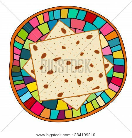 Vector Illustration Of Matzah For Jewish Holiday Of Passover On The Plate. Pesach Unleavened Bread A
