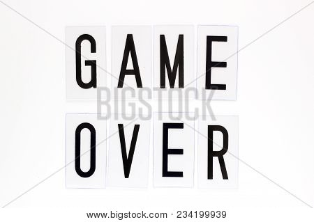 Game Over Text On White Background. Concept For Banners, Web Pages, Games, Presentation. Image Top V