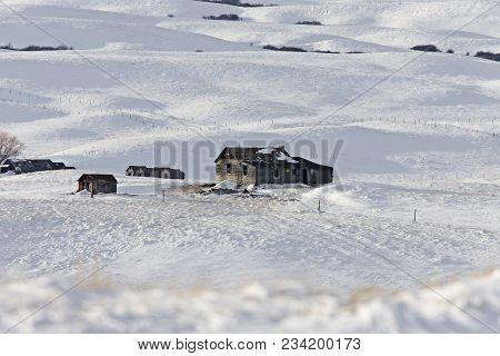 Winter Landscape Prairie In Saskatchewan Canada Homestead
