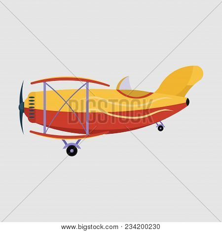 Airplane Flying Over The City, Airplane With Banner, Travel In The Clouds, Flat Style, Vector Image