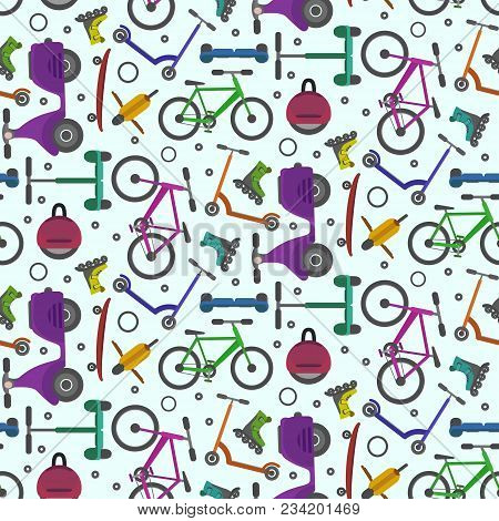 Colorful Teenager City Transport Seamless Pattern On Light Blue Background. Bright Colors Youth Urba