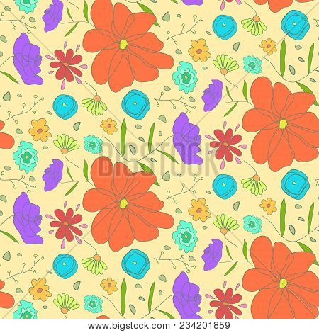 Bright Warm Seamless Pattern With Sketch Cartoon Colorful Ditsy Flowers. Cute Doodle Floral Texture