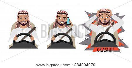 Arab Man Driving A Car. Man Driving A Car Talking On The Phone. The Man Had An Accident. Crash. Arab