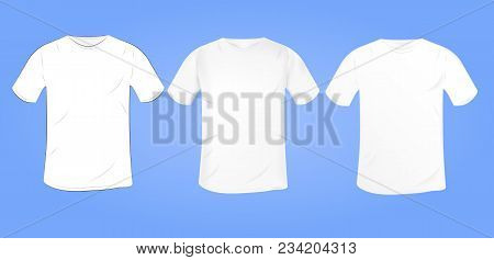 Vector White Blank T-shirt Mockup With A Round Collar In A Different Style. Isolated On Blue Backgro