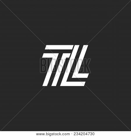 Logo Tl Monogram Letter Logo, Black And White Parallel Lines Creative Initials Lt, Simple Two Letter