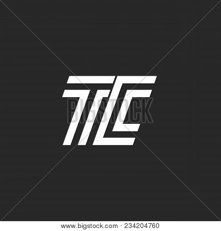 Monogram Letter Tc Logo, Linked Two Capital Letters C And T Emblem Black And White Linear Minimal St