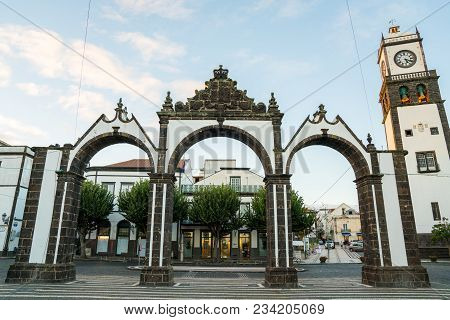 Ponta Delgada, Portugal. November 10, 2017. City View On The Old Town With Harbor At Ponta Delgada,