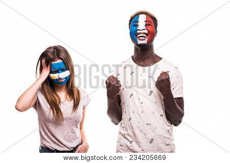 Happy Football Fan Of France Celebrate Win Over Upset Football Fan Of Argentina With Painted Face Is