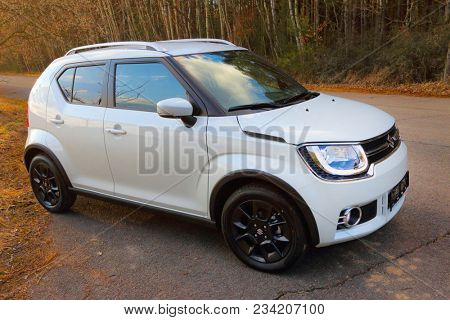 PILSEN / CZECH REPUBLIC - MARCH 29, 2018: New Suzuki Ignis car with 1.2 Dualjet engine is a Japanese small 4WD crossover for easy ride in city streets and rural dirty roads. Ecological technology.