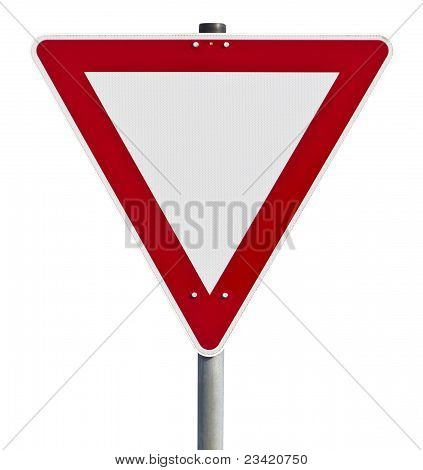 Red and white traffic sign. Picture taken in germany. with clipping path poster