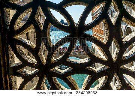 Touirists Colorful Side Canal Bridge Sighs Doges Palace Venice Italy